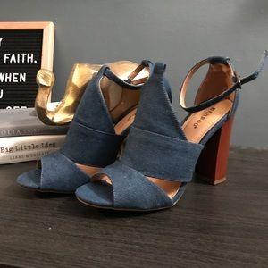 Denim chunk heels